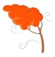 Autumn wind and tree icon cartoon style vector image