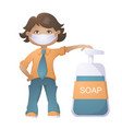 boy with mask vector image vector image