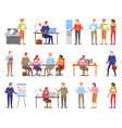 business people males and females working vector image vector image