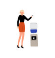 business women drinking water at water cooler vector image vector image