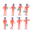 businessman characters poses and actions set vector image vector image