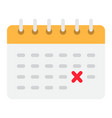 calendar flat icon time and date reminder vector image