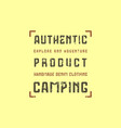 camping typographic emblem with rough texture vector image vector image