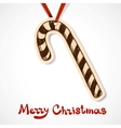 Candy cane Paper label on ribbon vector image