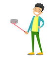Caucasian white teenager boy taking selfie photo vector image