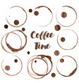 coffee ring set of coffee stains vector image vector image