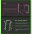 Cube and heganonal prism set