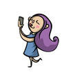cute sexy girl with violet color hair make selfie vector image vector image