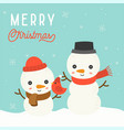 cute snowman christmas in winter theme vector image vector image