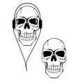 Danger human skull in headphones vector image vector image