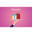 discount concept with people hand holding a plate vector image vector image