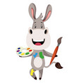 donkey with color palette on white background vector image vector image