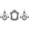 fabulous baroque mirror and chandelier frame set vector image vector image