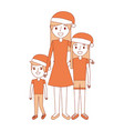family mom and their kids with christmas hat vector image