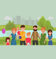 family together in park vector image vector image