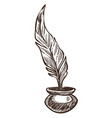 feather and ink pot isolated sketch ancient vector image vector image