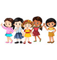 five girls with happy faces vector image vector image