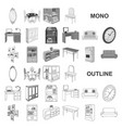 furniture and interior monochrom icons in set vector image