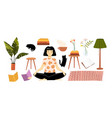 girl sitting in lotus pose character and furniture vector image