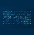 glasses outline blue horizontal banner vector image vector image