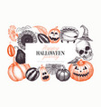 halloween banner template hand drawn design with vector image