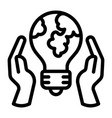 hand keep global bulb icon outline style vector image