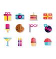 happy birthday celebration decoration icons set vector image vector image