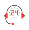 headphone and 24 hours helpline service flat icon vector image vector image