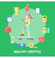 Healthy Lifestyle Fitness Icon Set with Fit Woman vector image vector image