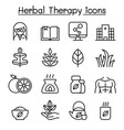 herbal therapy hospital icon set in thin line vector image