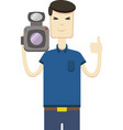 image of asian man with video camera vector image vector image
