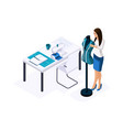 isometric tailor a designer fitting a ready-made vector image