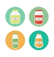 Jam and juice isolated flat icons vector image vector image