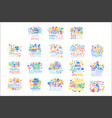 kid holidays happy birthday logo template vector image