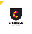 letter c monogram and shield logotype combination vector image