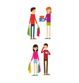 man and woman with shopping bags young people vector image vector image