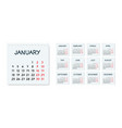 monthly calendar 2021 in sketchy style on squared vector image