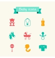Newborn baby icons set in flat design style vector image