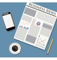 Newspaper mobile phone and coffee vector image vector image
