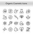 organic eco beauty cosmetics thin black line icons