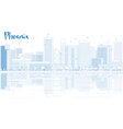 outline phoenix skyline with blue buildings vector image vector image