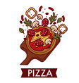 pizza italian cuisine dish on wooden cutting board vector image