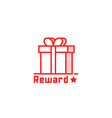 reward logo like thin line giftbox vector image vector image