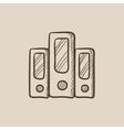 Row of folders sketch icon vector image vector image