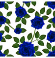 seamless pattern with blue roses beautiful vector image vector image