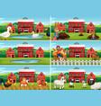 set farm scene vector image vector image