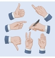 Set of business man hands vector image vector image