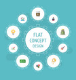 set of idea icons flat style symbols with idea vector image vector image
