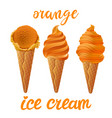 set of orange ice cream with of different shapes vector image