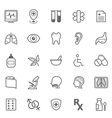 set of outline stroke medical icons 2 vector image vector image